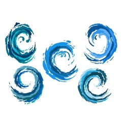 Blue rounded sea waves set vector