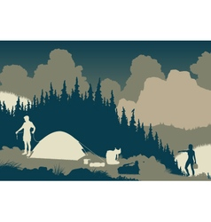 Wilderness camp vector image