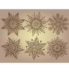 Print of six ornamental suns with a lot of details vector