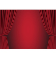 Open red curtain vector