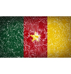 Flags cameroon with broken glass texture vector