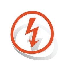 Voltage sign sticker orange vector