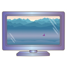 Lcd tv monitor with mountain landscape on screen vector