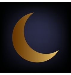 Moon sign golden style icon vector