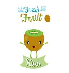 Cute cartoon of kiwi fruit banner logo vector