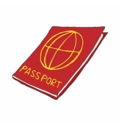 Red passport icon cartoon style vector