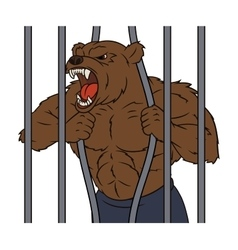 Angry bear in cage 2 vector