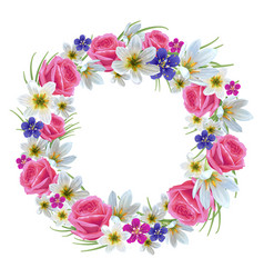 beautiful floral wreath vector image