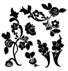 black silhouette flower vector image vector image