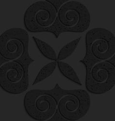 Black textured plastic big solid swirly hearts vector