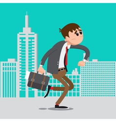 Businessman late for work man hurry to work vector