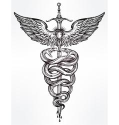 Caduceus symbol of god Mercury vector image