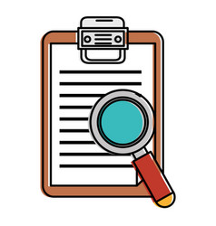 Checklist clipboard with magnifying glass vector