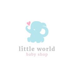 cute little elephant logo vector image