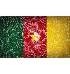 Flags cameroon with broken glass texture vector image