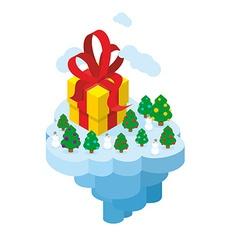 Flying Christmas Island Gift and Christmas tree vector image