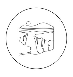 Grand canyon icon in outline style isolated on vector