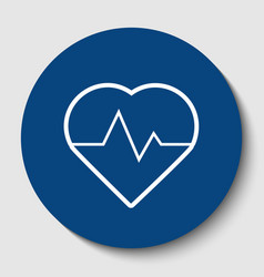 Heartbeat sign white contour vector