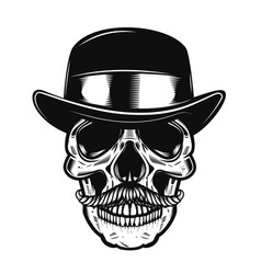 human skull in vintage hat vector image vector image