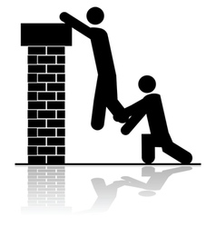 Lifting someone over a wall vector