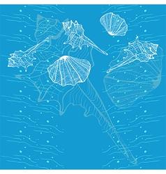 Marine seashell blue card vector image vector image