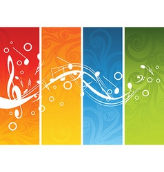 Music background with different notes on different vector image