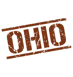 Ohio brown square stamp vector