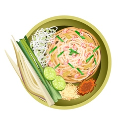Pad Thai or Traditional Stir Fried Noodles vector image vector image