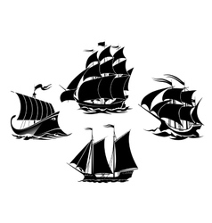 Sailboats and sailing ships silhouettes vector image