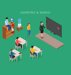 School education isometric design concept with vector
