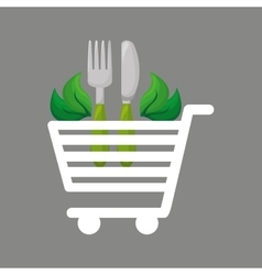 shopping cart food natural design vector image vector image