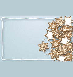 snowflake star cookies shapes background vector image vector image