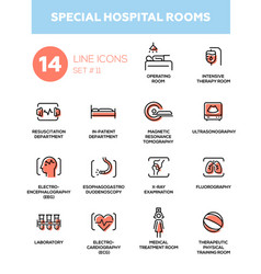 special hospital rooms - modern simple thin line vector image