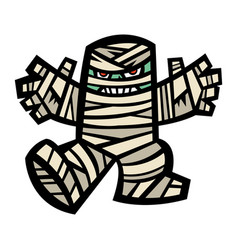 Spooky mummy character vector