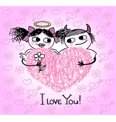 Valentines card with hearts and couple in love vector image vector image