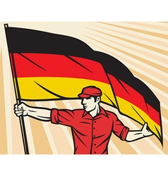 Worker Holding a German Flag vector image vector image