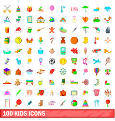 100 kids icons set cartoon style vector