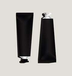 Black aluminum tubes for packaging vector