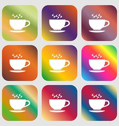 The tea and cup icon vector