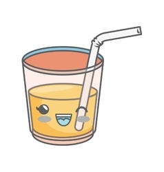 Juice glass kawaii style isolated icon vector