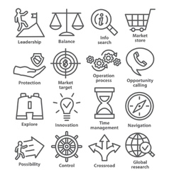 Business management icons in line style pack 13 vector