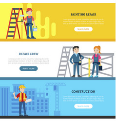 Construction team horizontal banners vector