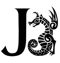 Capital letter j with gargoyle vector