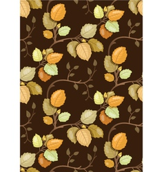 Repeating pattern with swirling autumn leaves vector