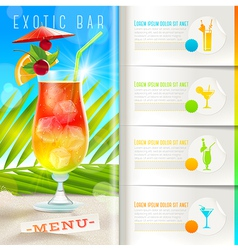 Tropical beach bar menu vector image