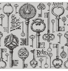 Vintage keys logo design template antiques vector