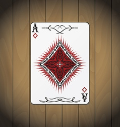 Ace of diamonds poker card wood background vector