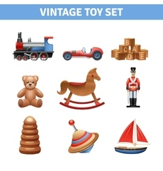 Vintage toy icons set vector