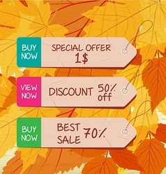 Autumn leaves background with tags for seller vector