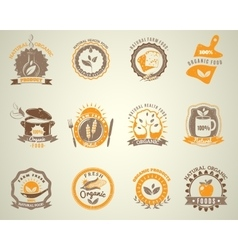Organic food vintage style labels set vector